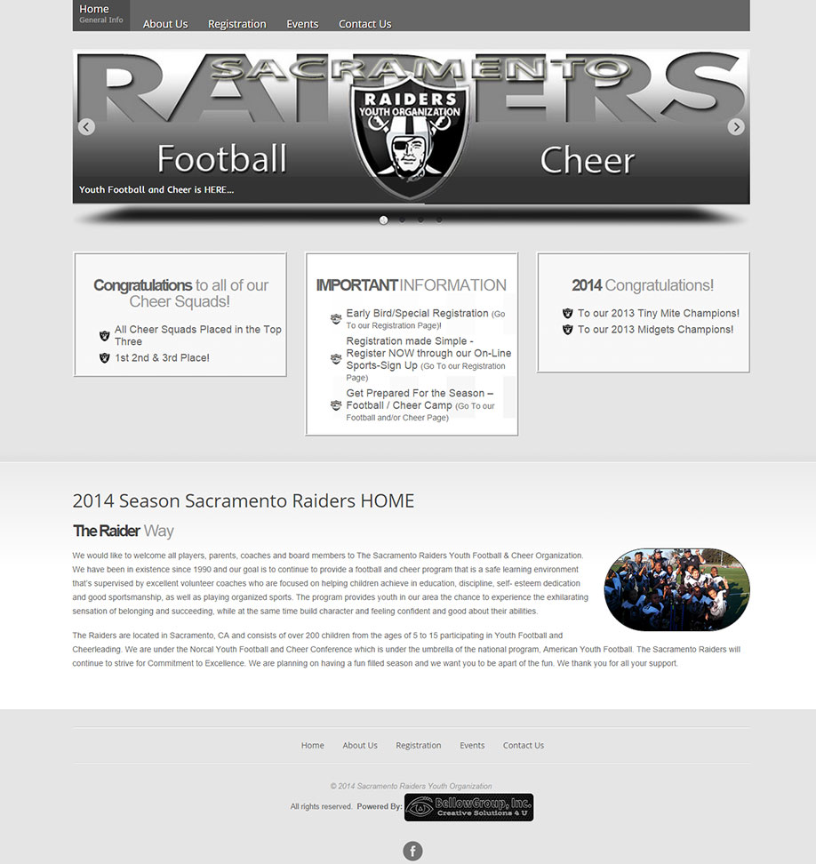 sacraiders.com -- Saramento Raiders Youth Organization